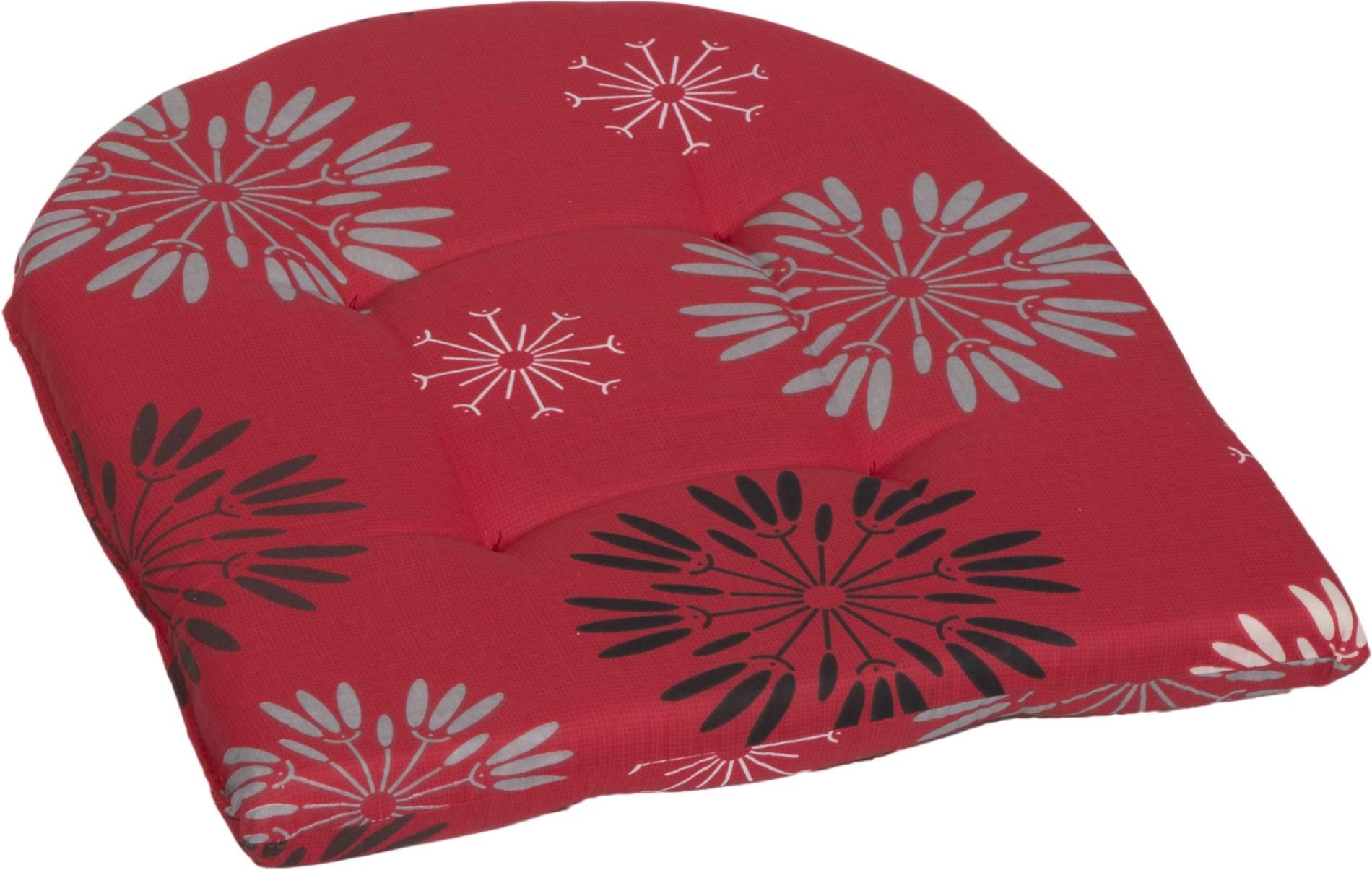 Abgerundetes Stuhlkissen ca. 41 x 41 cm in Pusteblume rot M301