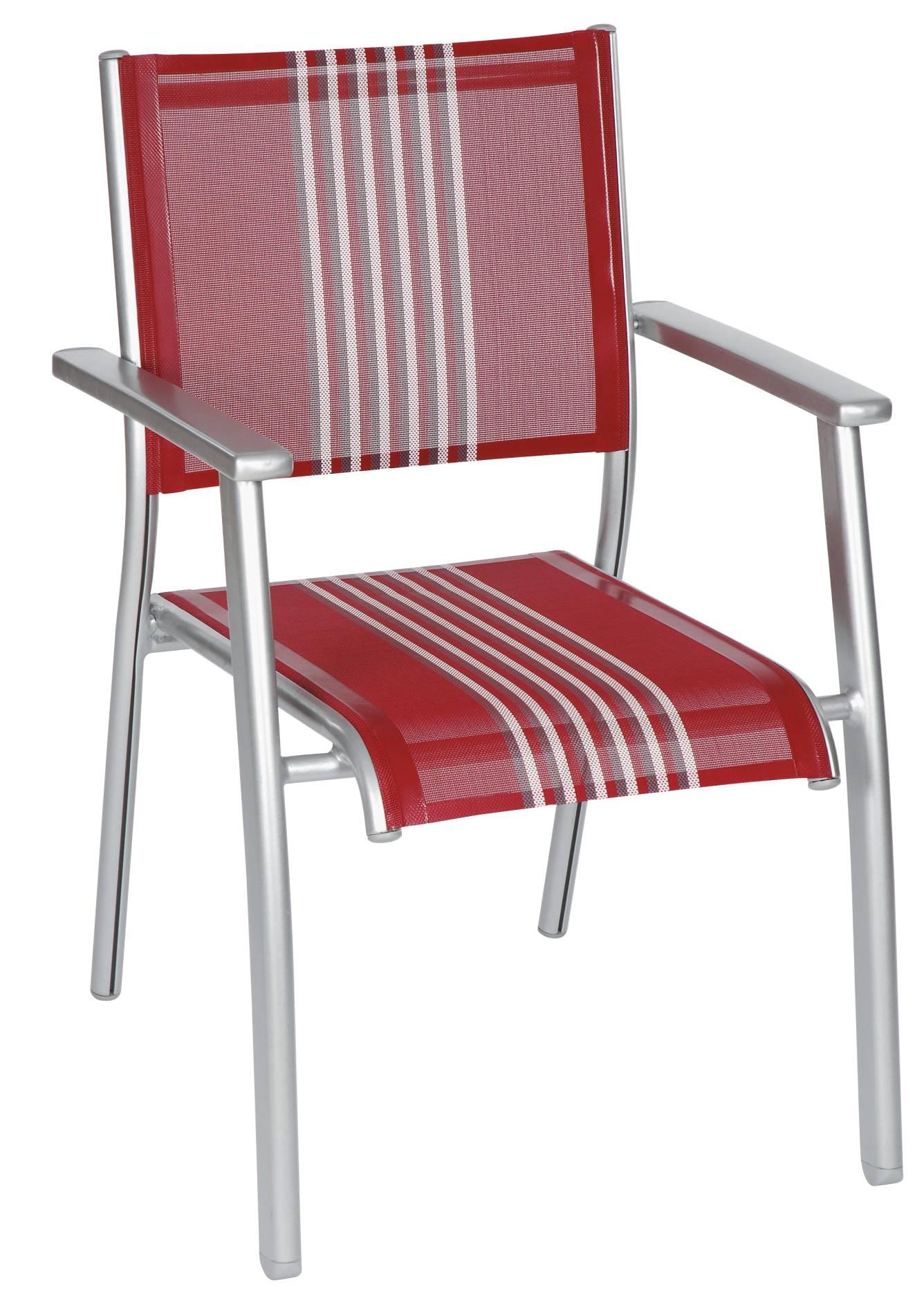 4-er Set Stapelsessel Gartenstuhl acamp 56032 Acatop nieder platin-red stripes