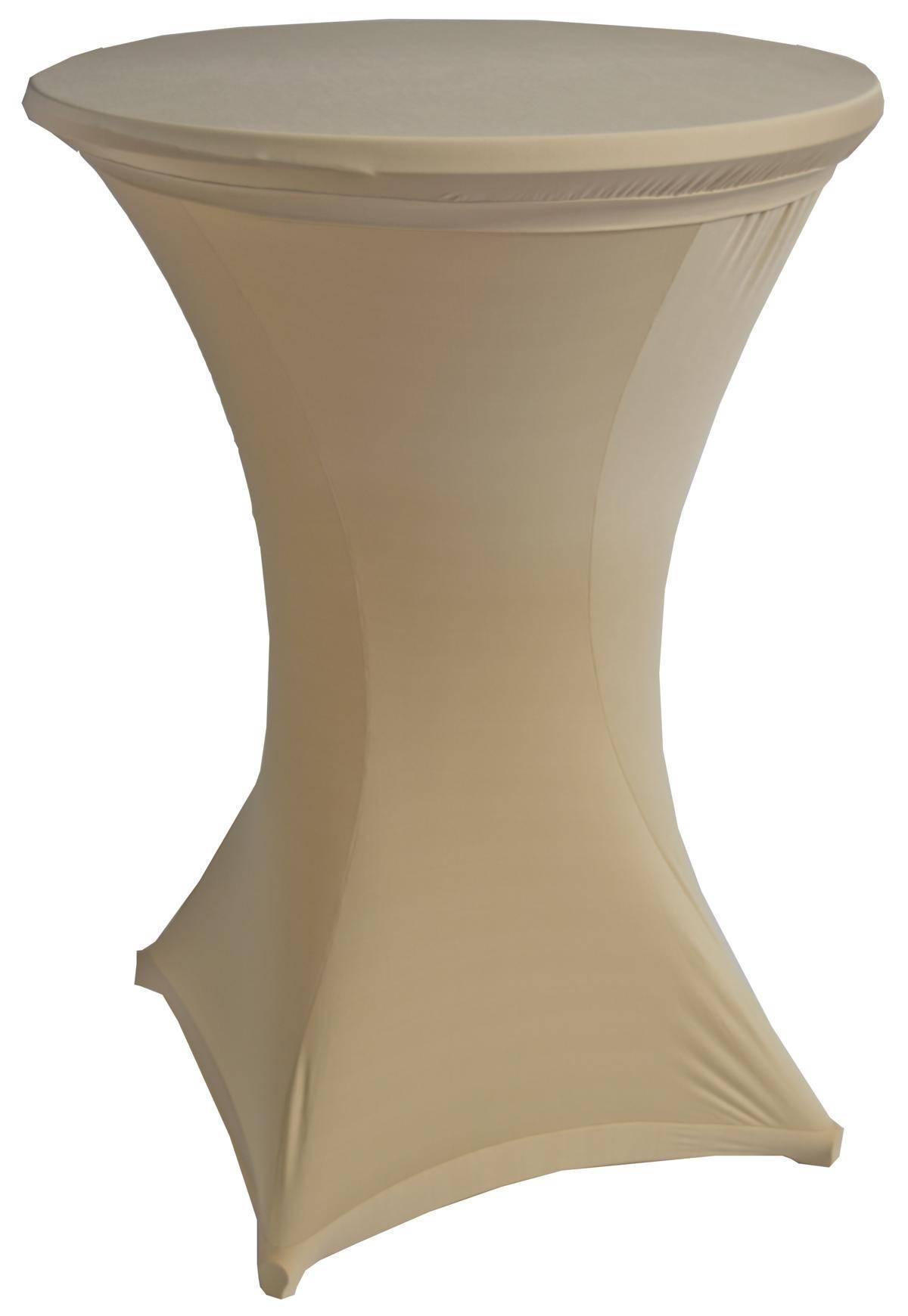 Husse aus Stretch-Stoff für Stehtisch 4-Bein-Gestelle 701419 Durchmesser 60cm x Höhe 120cm in Beige