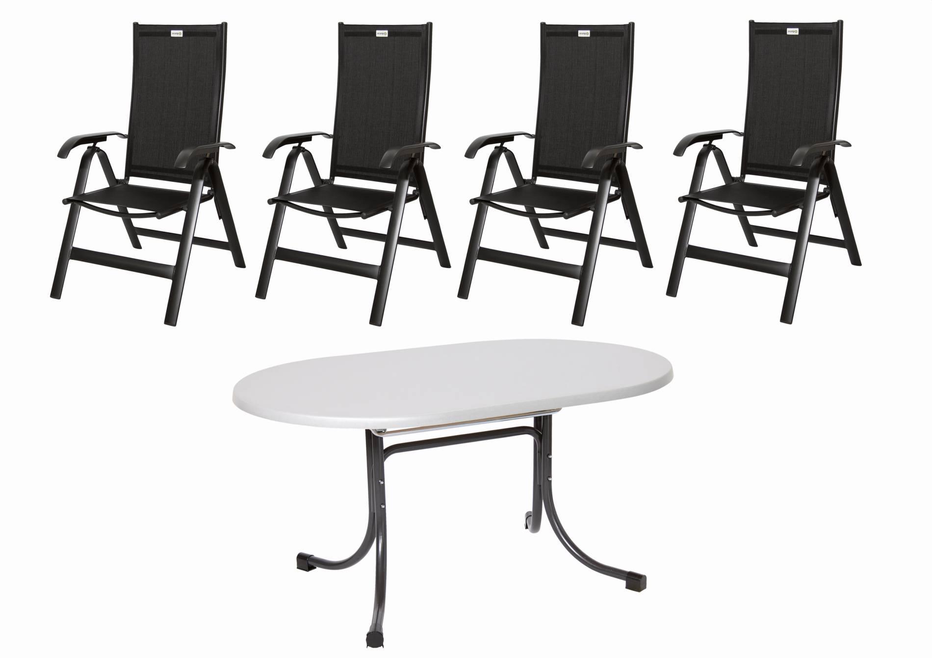 Acamp Sitzgruppe Acatop 5tlg. anthrazit 4 Klappsessel 1 Klapptisch 146x94 cm Aluminium Acatex Gewebe