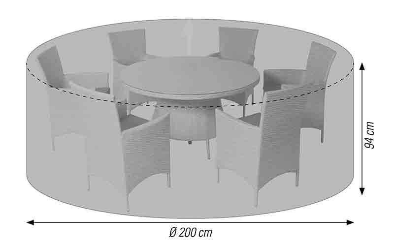Schutzhülle für Sitzgruppen rund 200 cm anthrazit acamp cappa Typ 57718