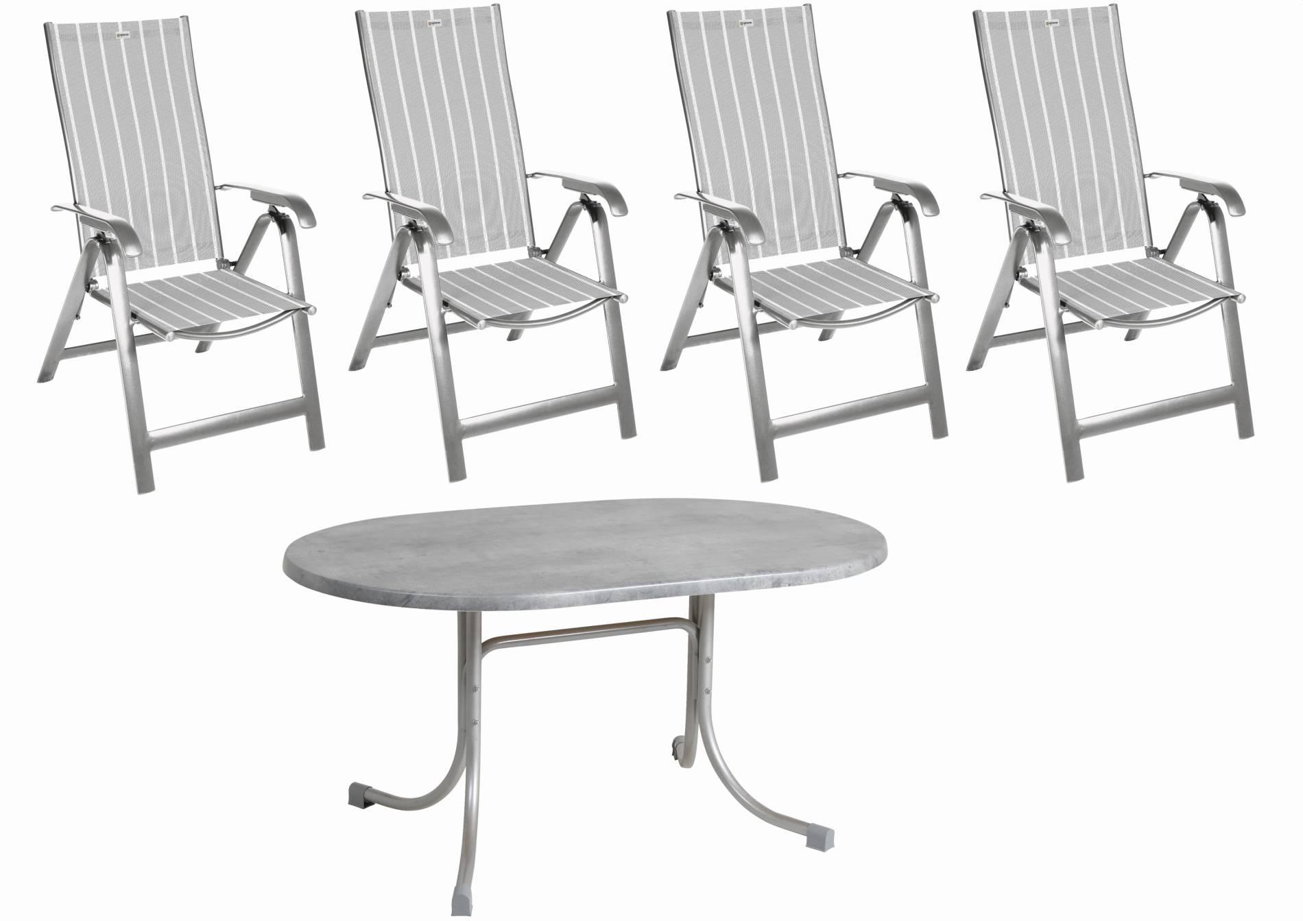 Acamp Sitzgruppe Acatop 5tlg. platin 4 Klappsessel 1 Klapptisch 146x94 cm Aluminium Stahl