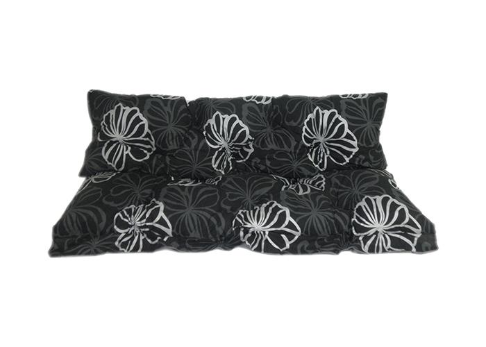 Auflage für Hollywoodschaukel in modernem Design mit schwarz Silber Blüten