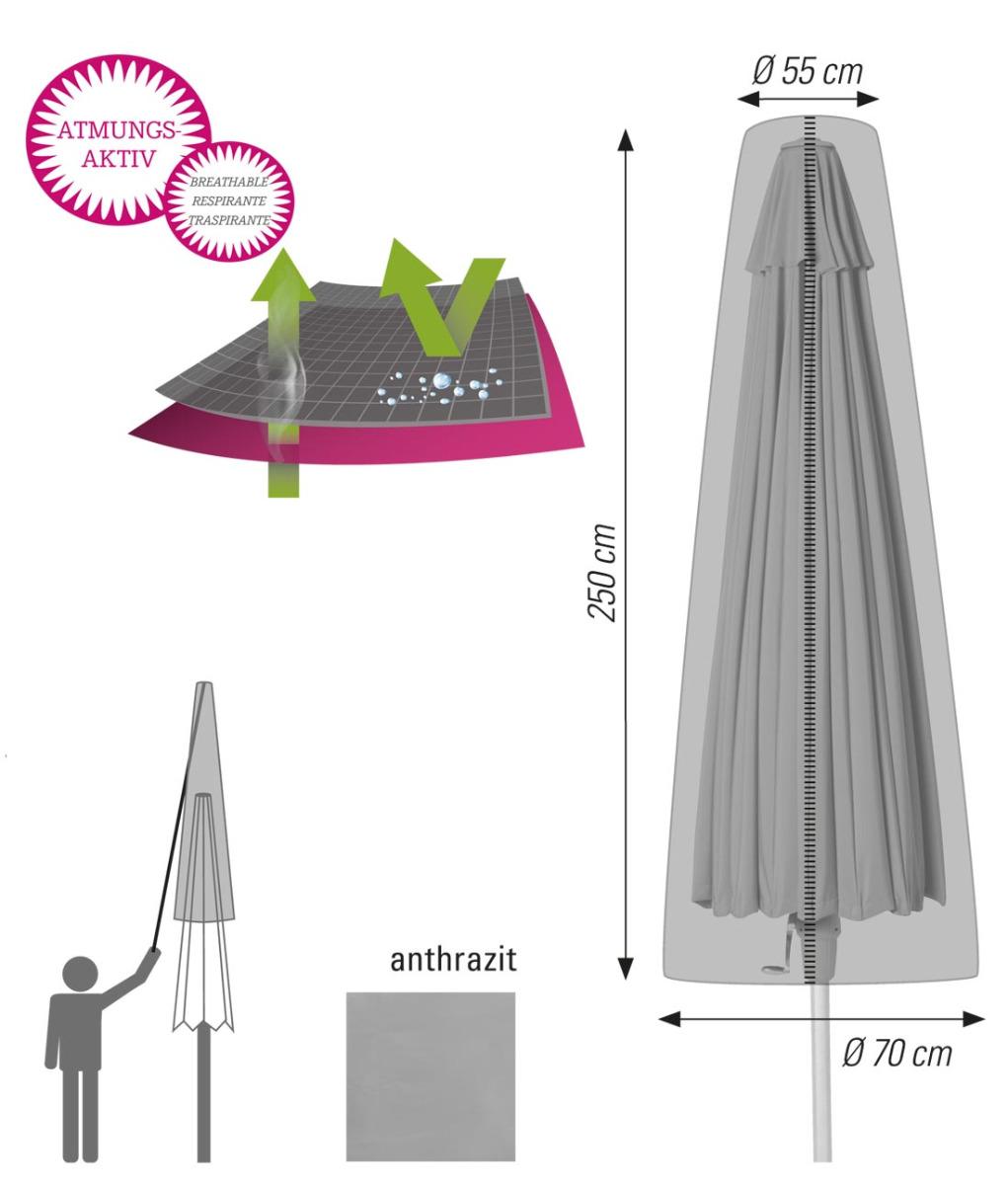Atmungsaktive Schutzhülle für Ampelschirme bis 400cm anthrazit acamp cappa air Typ 59272