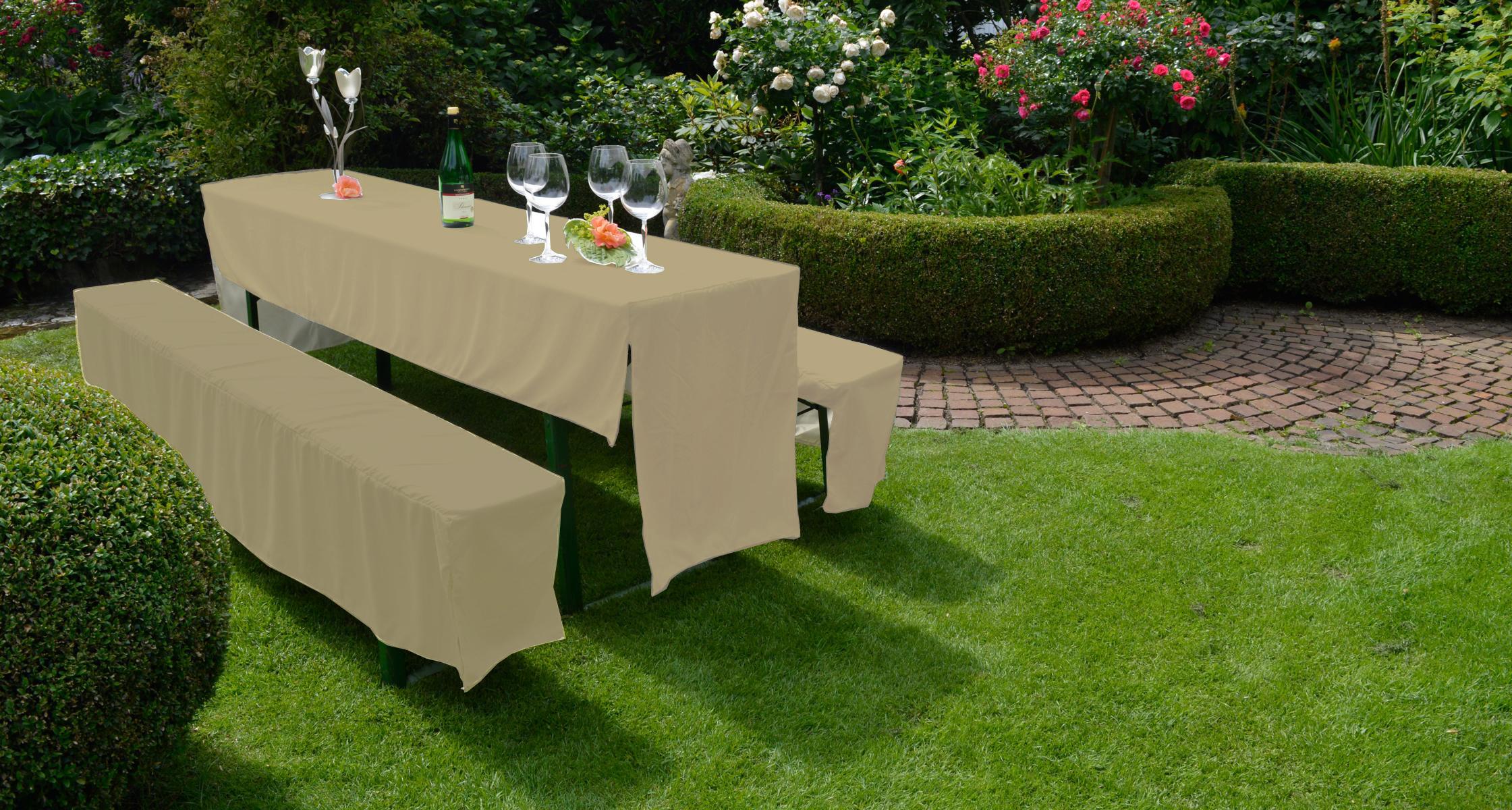 2-er Set Festzelt Hussen Set für Bierbank Garnituren in beige 100% Polyester
