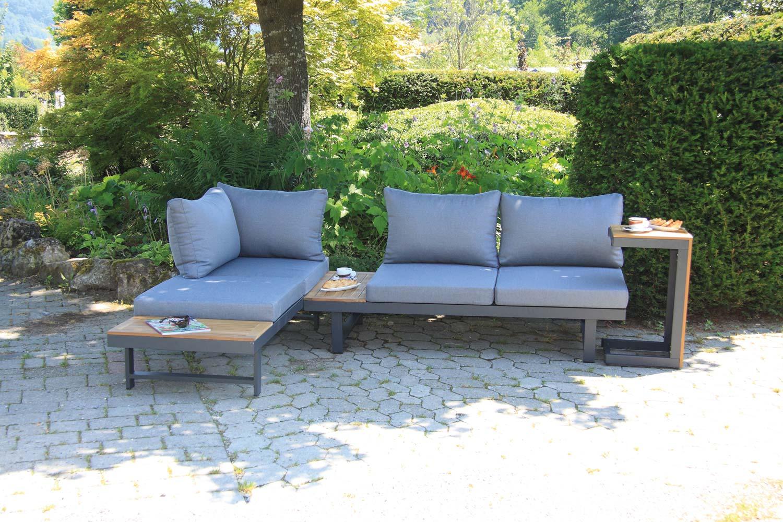 Shadow Lounge Set 3-teilig Aluminium kombiniert mit FSC®-zertifiziertem Akazienholz