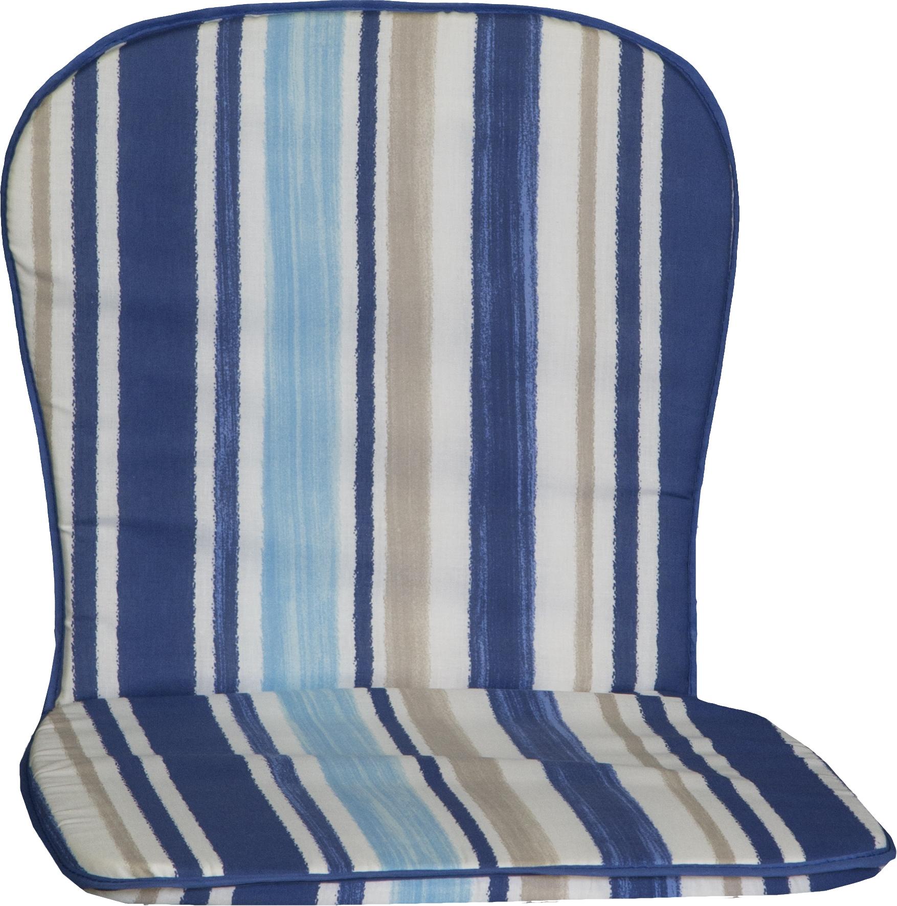beo Stapelstuhlauflage Monoblock  für niedrige Rückenlehne in Streifen blau hellblau beige weiss