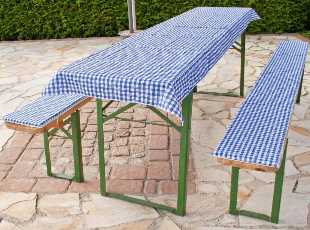 beo Festzeltauflagen-Set für Bierzeltgarnituren  karo blau mit Blumen für Tische bis 80cm