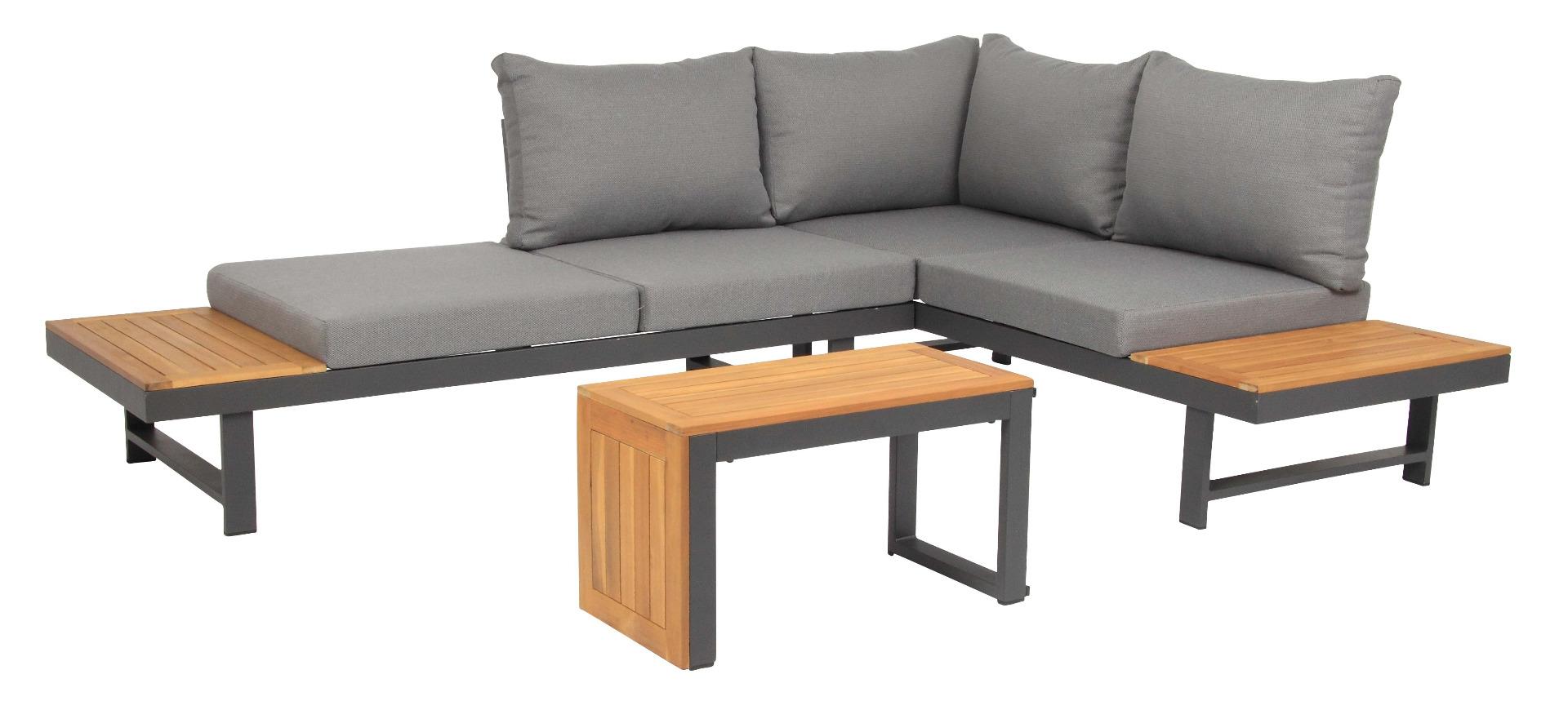 Shadow Lounge Set 3-teilig Aluminium kombiniert mit FSC Akazienholz
