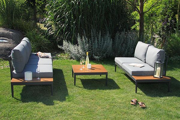 acamp paros Lounge-Set 4-teilig, aus Aluminium pulverbeschichtet, Seitenteile: Akazienholz