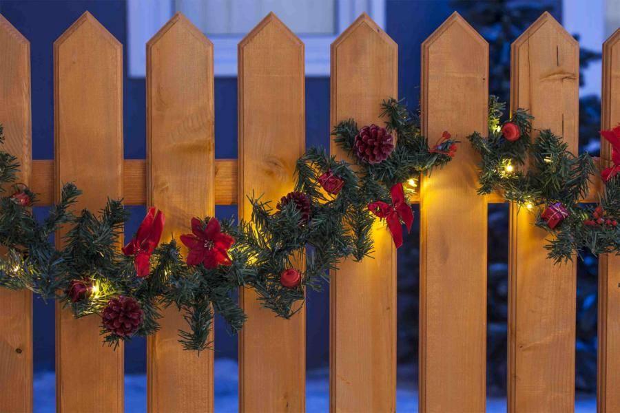20er LED Girlande mit weihnachtlichen Accessoires in rot Weihnachtsbeleuchtung Deko ca. 275cm lang