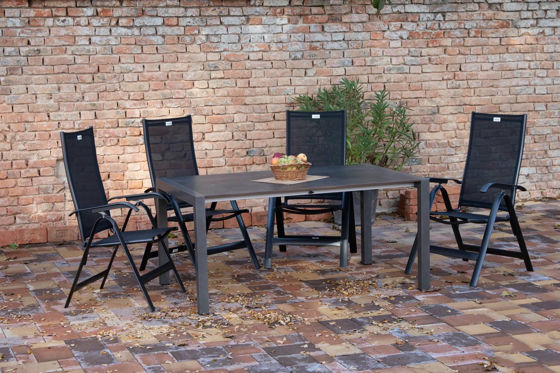 acamp Gartenmöbelset 4x Acatop Klappsessel 56008 und 1x Ausziehtisch 56669 Extensio 160 +60 x 98 cm