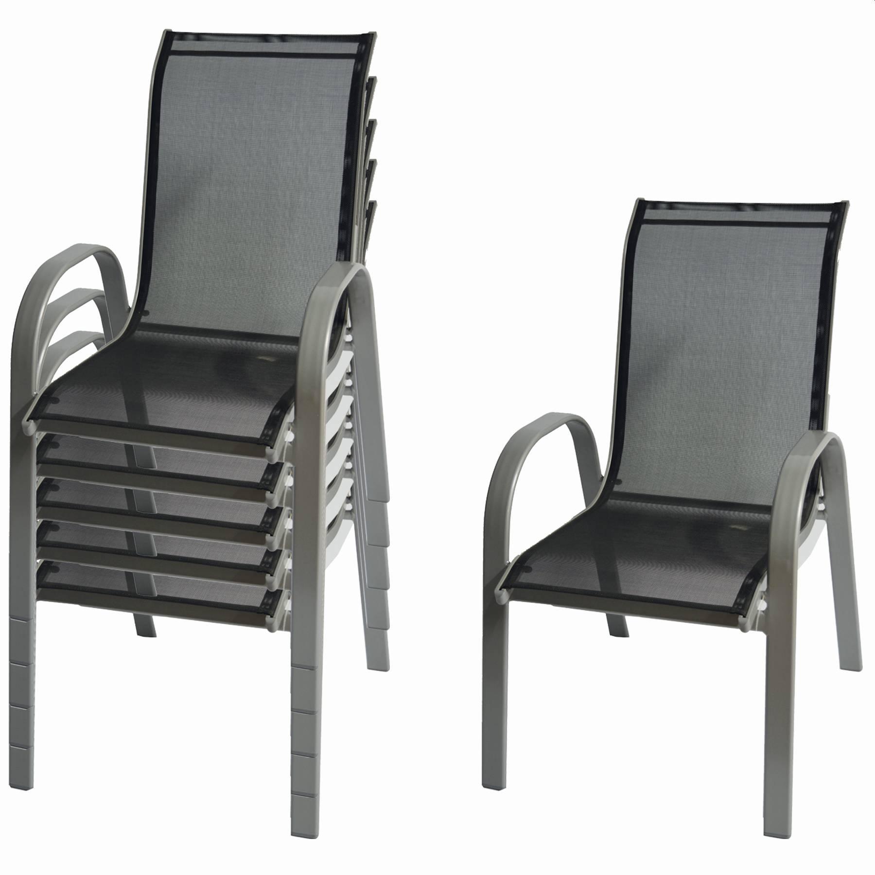 6-er Set Gartensessel Stapelstuhl starr nicht verstellbar aus Aluminium mit Textilene Bespannung