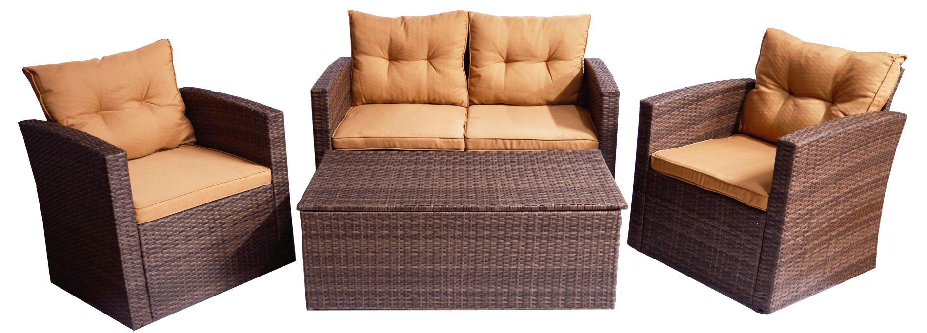 Braune Sitzgruppe 4-teilig Polywood Rattan zwei Sessel eine 2-er Bank Tisch mit Staufunktion