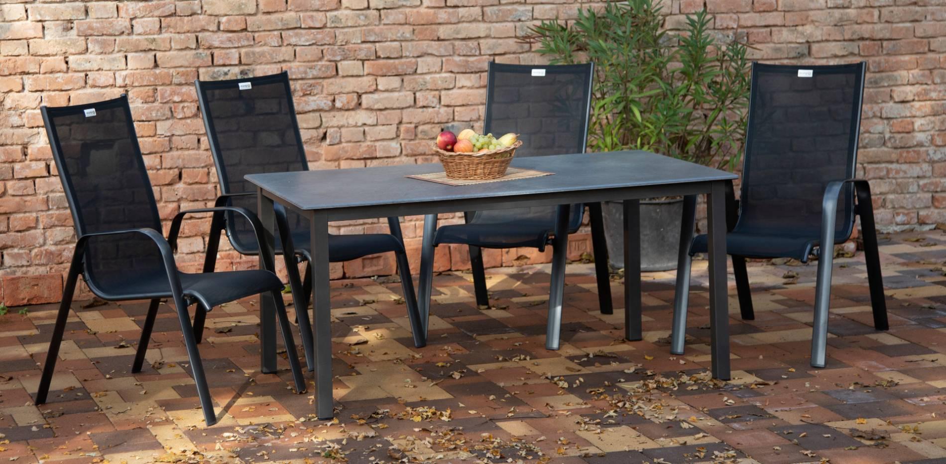 acamp Gartenmöbelset 4x Acatop Stapelsessel 56007 und 1x Tisch 56663 Acaplan 160 x 90 cm