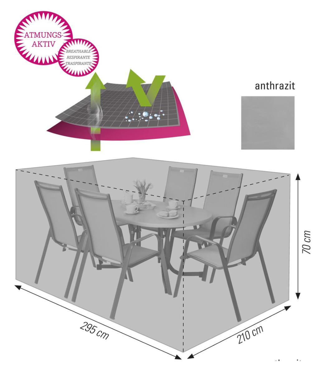 Atmungsaktive Schutzhülle für Sitzgruppen 295x210x70 cm anthrazit acamp cappa air Typ 59273