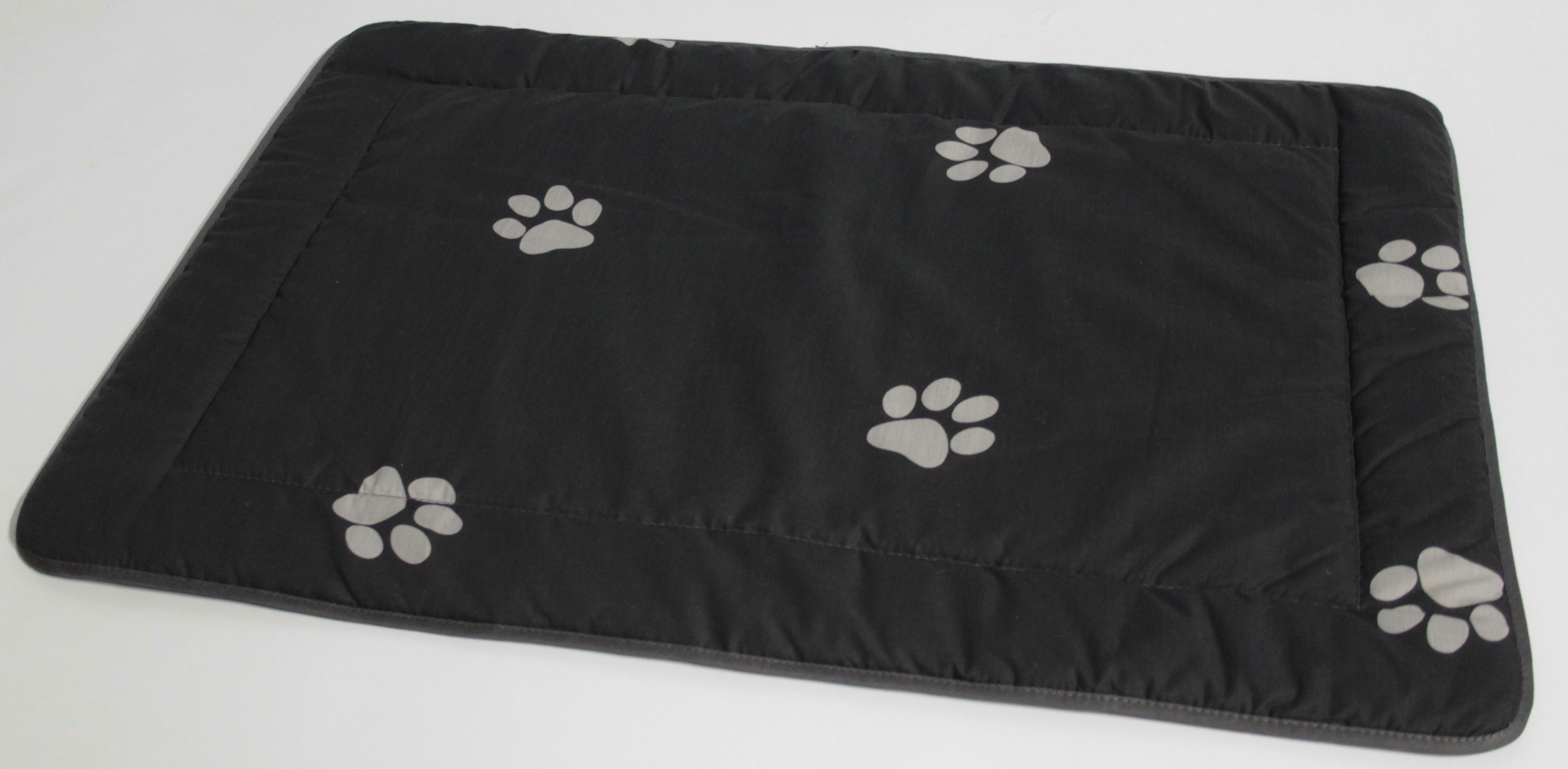 Hundedecke 95x65 cm grau mit hellgrauen Tatzen