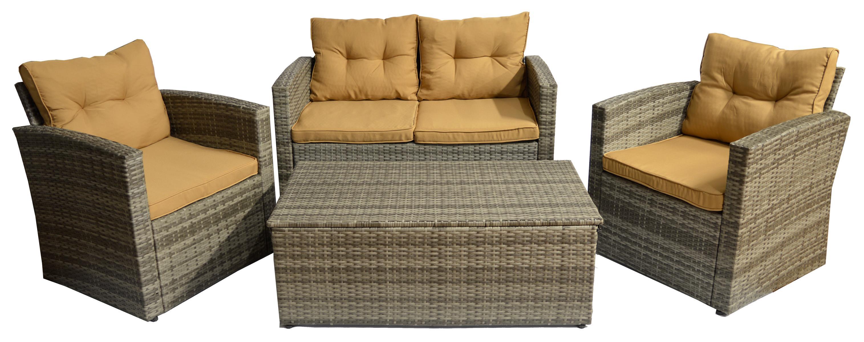 4-teilge Polywood Rattan Sitzgruppe in grau zwei Sessel eine 2-er Bank Tisch mit Staufunktion