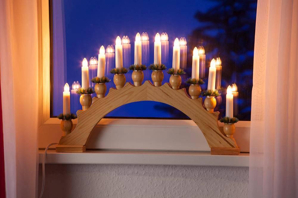 10er Lichterbogen Leuchter natur Weihnachtsbeleuchtung Dekoration