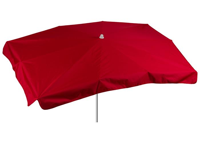 Rechteckiger roter Terrassenschirm mit dem Mass 130 x 200 cm Bespannung 100% Polyester wasserabweisend 2