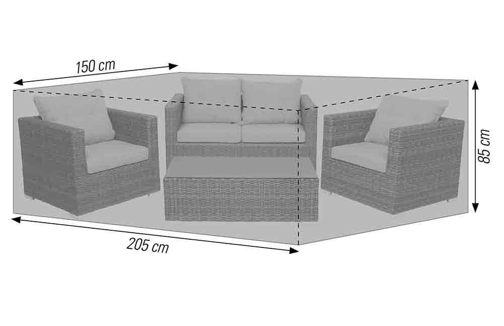 Schutzhülle für Lounge Sets 205x150x85 cm anthrazit acamp cappa Typ 57724