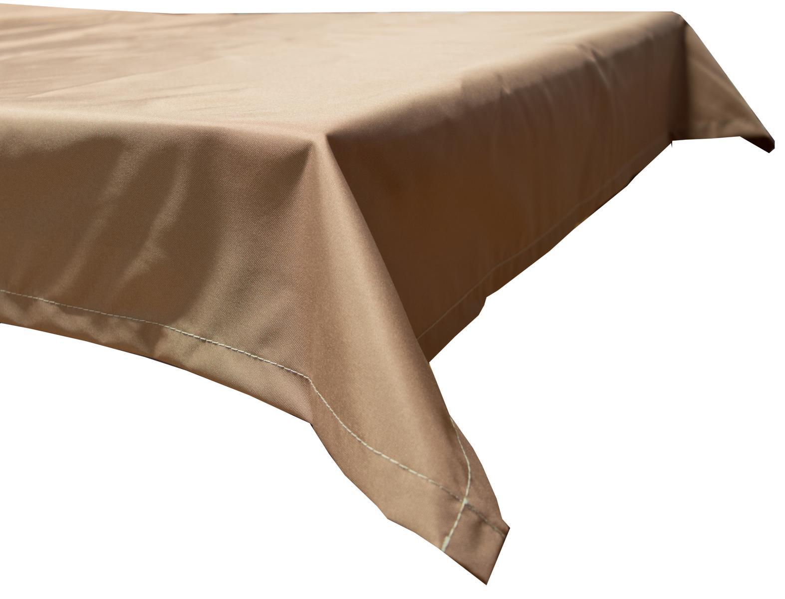 130x180 cm wasserabweisende Tischdecke 100% Polyester in sand