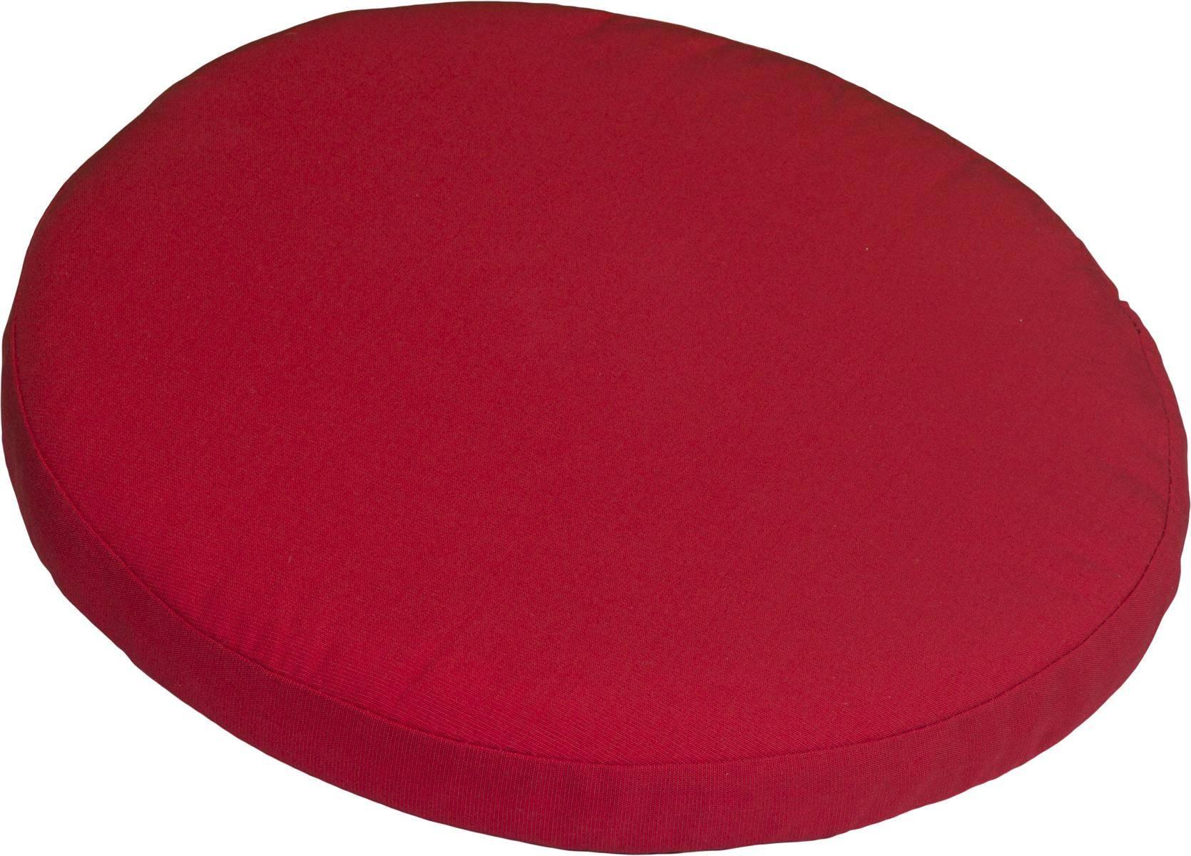 Polster für Balkonstühle rund rot Dralon Bezug 40 cm mit Reissverschluss