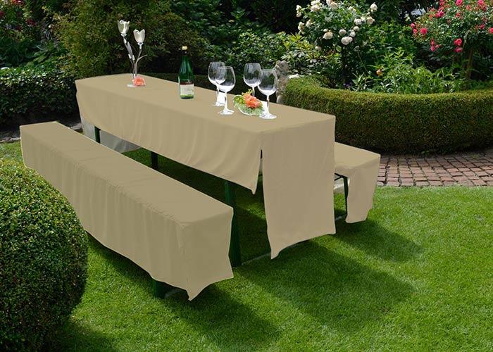 Festzelt Hussen Set für Bierbank Garnituren in beige 100% Polyester