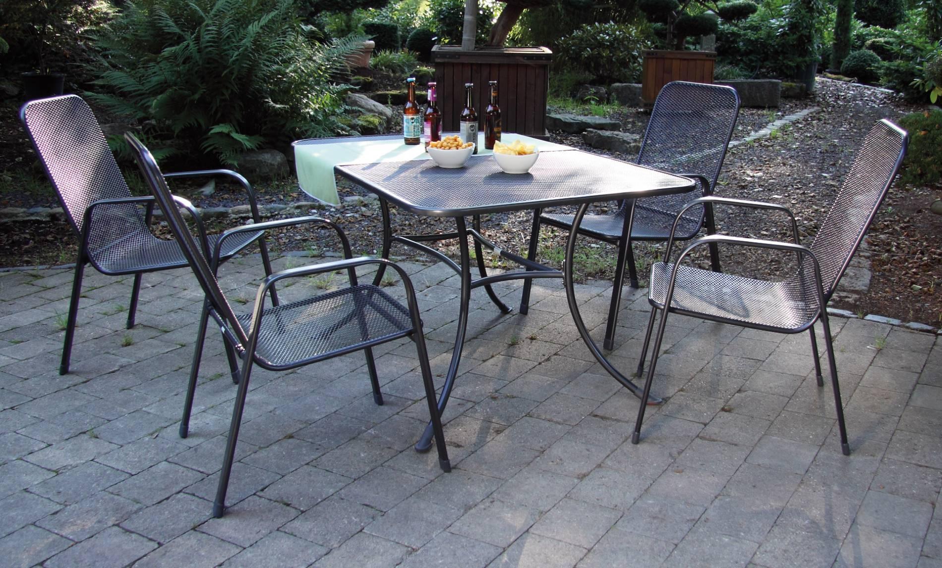 acamp Gartenmöbelset Streckmetall 4x Astor Stapelsessel 56451 und 1x Tisch Strada 145 x 90 cm