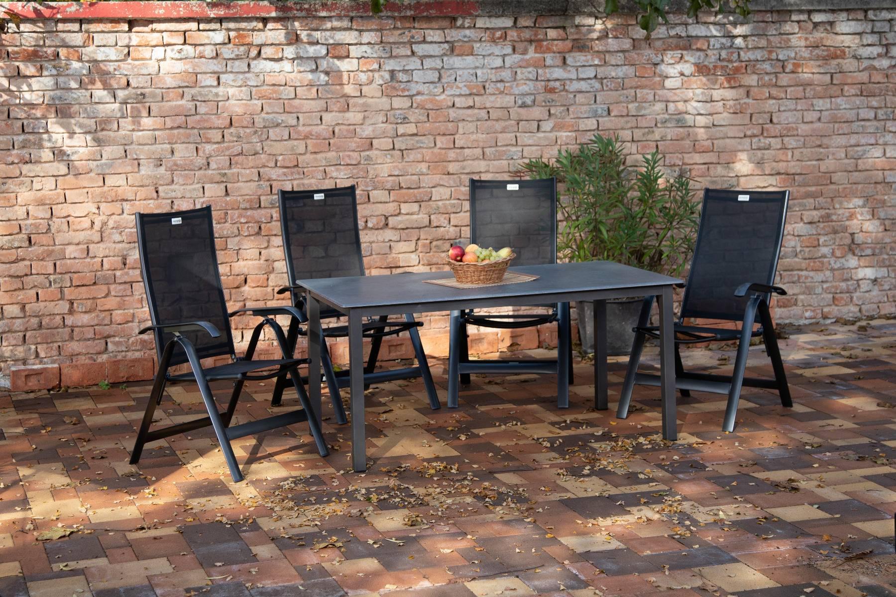acamp Gartenmöbelset 4x Acatop Klappsessel 56008 und 1x Tisch 56663 Acaplan 160 x 90 cm