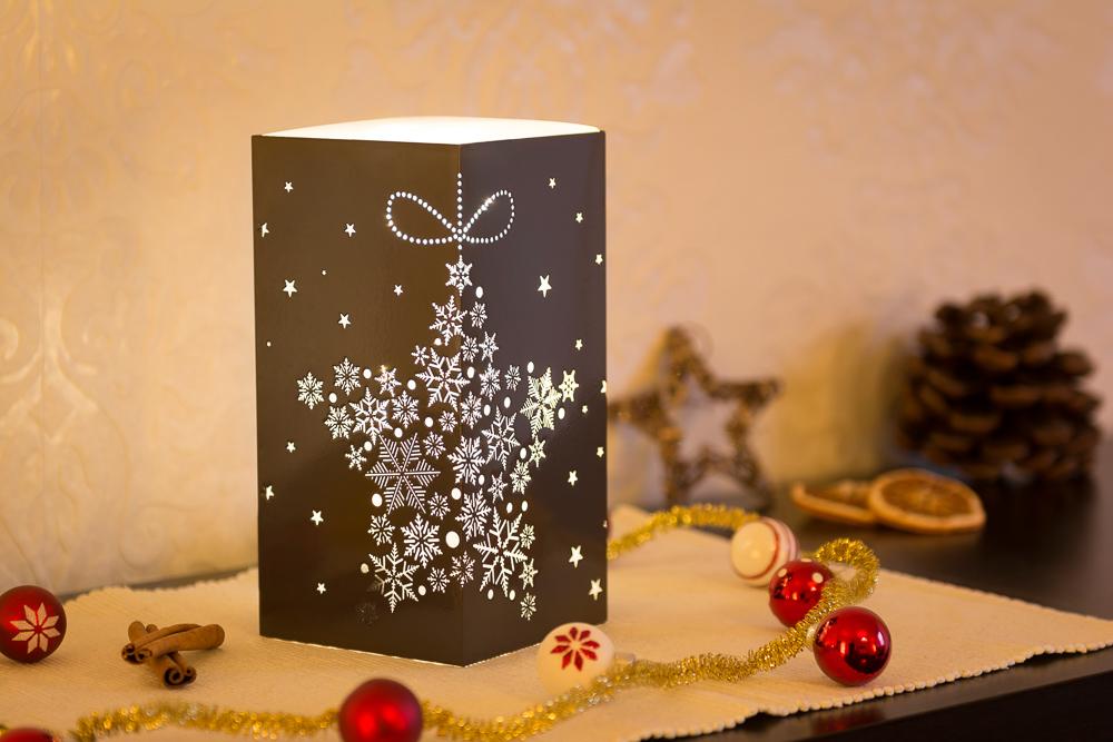 10x10x20cm Weihnachtsleuchte LED Dekolicht Quader in braun mit Schneeflocken Sternmotiv