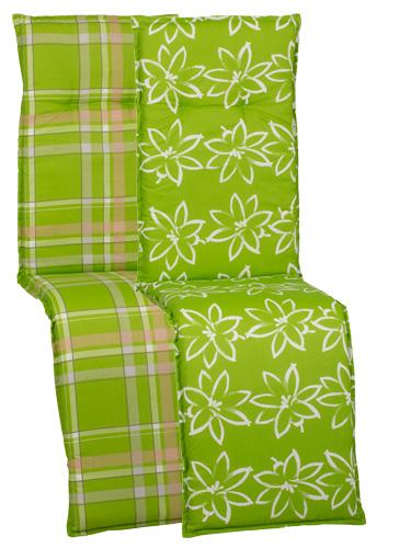 beo Gartenmöbel Auflage für Relaxstuhlkissen - Wendekissen Blumenmuster grün karo M028-M034