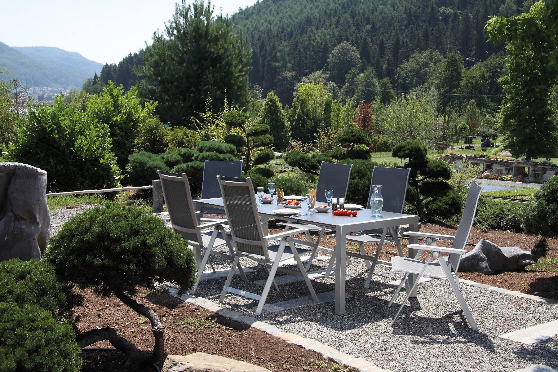 acamp Gartenmöbelset 6x Urban Klappsessel 56863 und 1x Tisch 56701 Extensio 180 x 98 cm