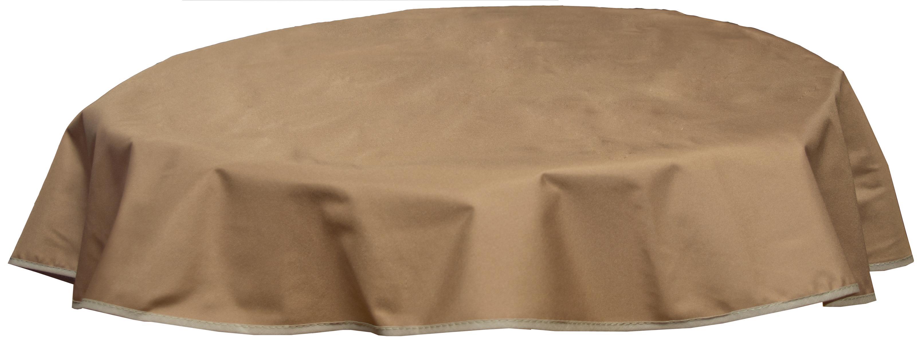 Runde Tischdecke 160cm wasserabweisend 100% Polyester in sand