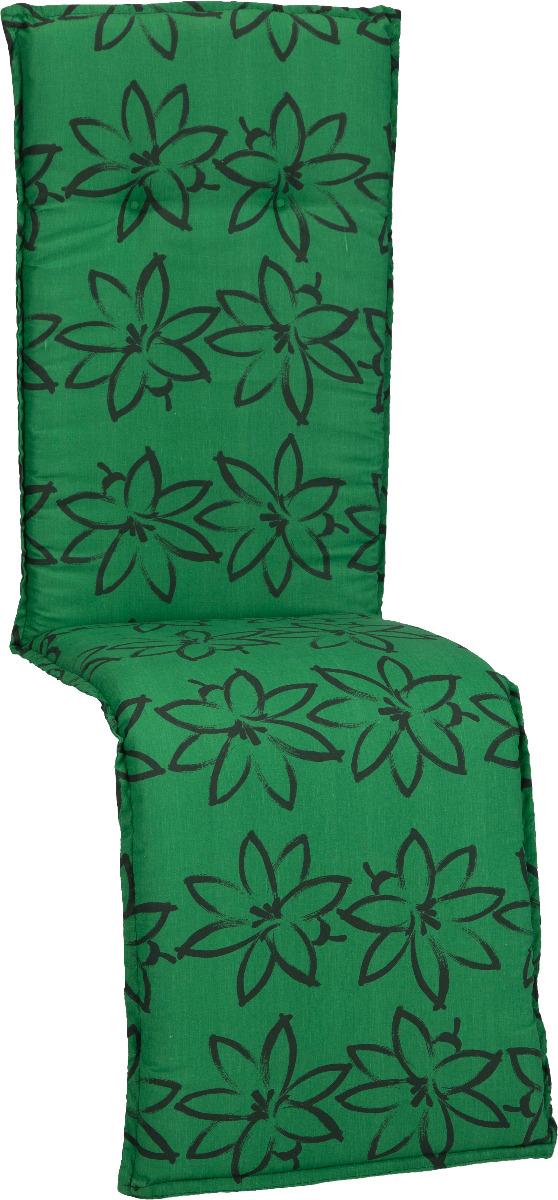 beo Gartenmöbel Auflage für Relaxstühle in grün mit schwarzen Blüte M906