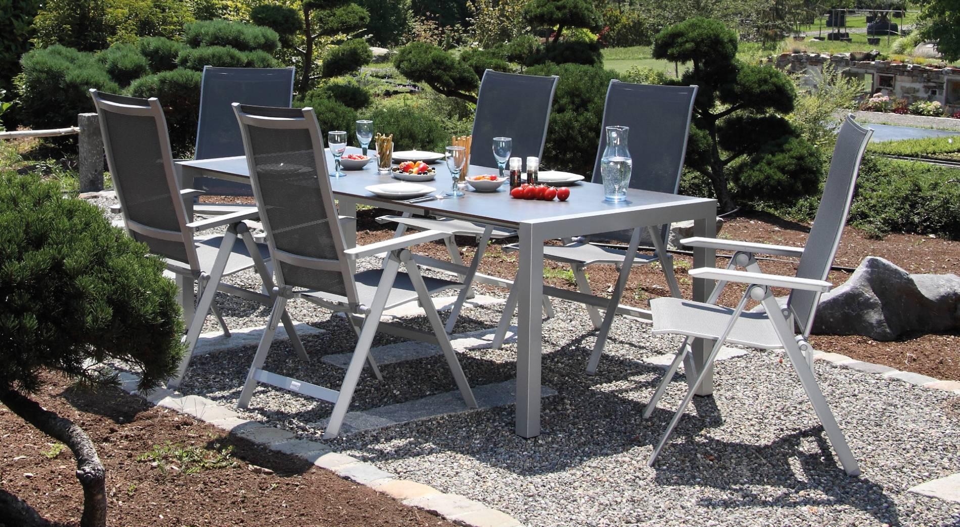 acamp Gartenmöbelset 4x Urban Klappsessel 56863 und 1x Tisch 56701 Extensio 180 x 98 cm