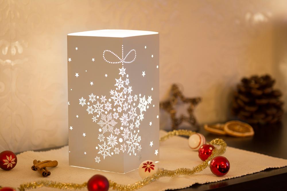 10x10x20cm Weihnachtsleuchte LED Dekolicht Quader in weiss mit Schneeflocken Sternform Motiv