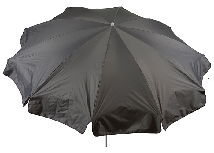 Wasserabweisender grauer Sonnenschirm mit 240 cm Durchmesser Bespannung 100% Polyester wasserabweisend 2