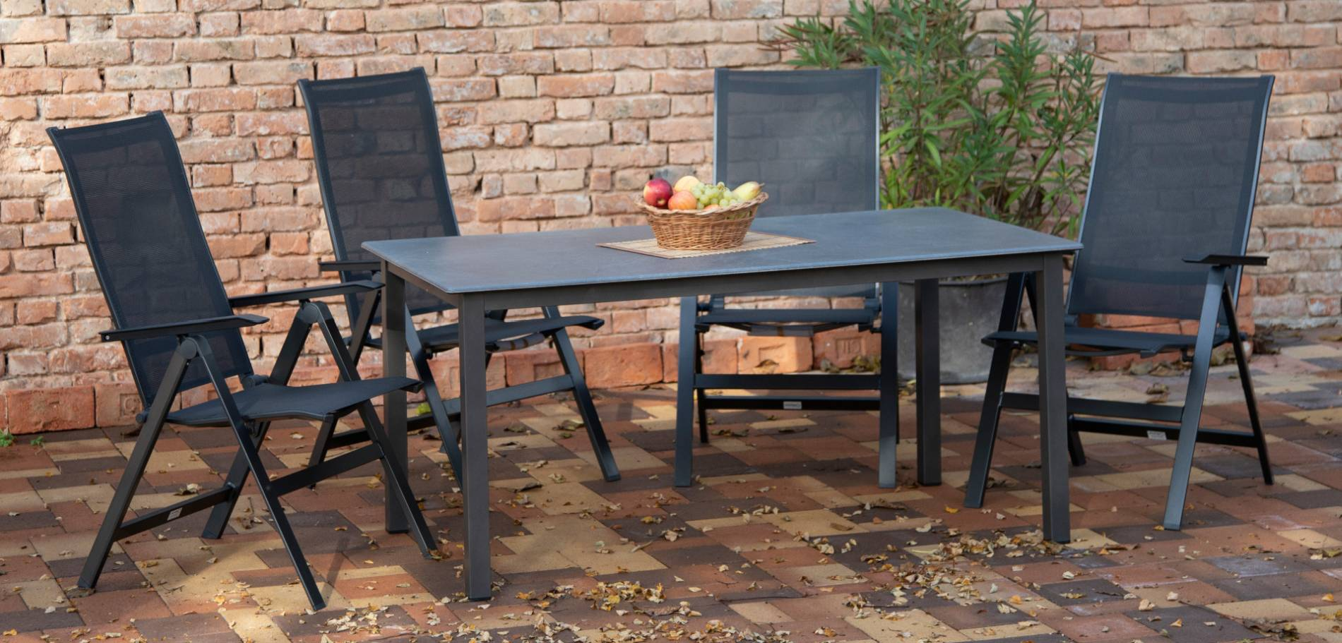 acamp Gartenmöbelset 4x Urban Klappsessel 56862 und 1x Tisch 56663 Acaplan 160 x 90 cm