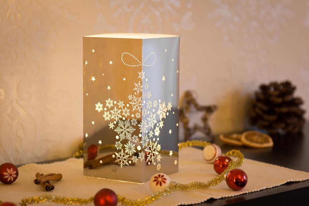 10x10x20cm Weihnachtsleuchte LED Dekolicht Quader in silber mit Schneeflocken Sternmotiv