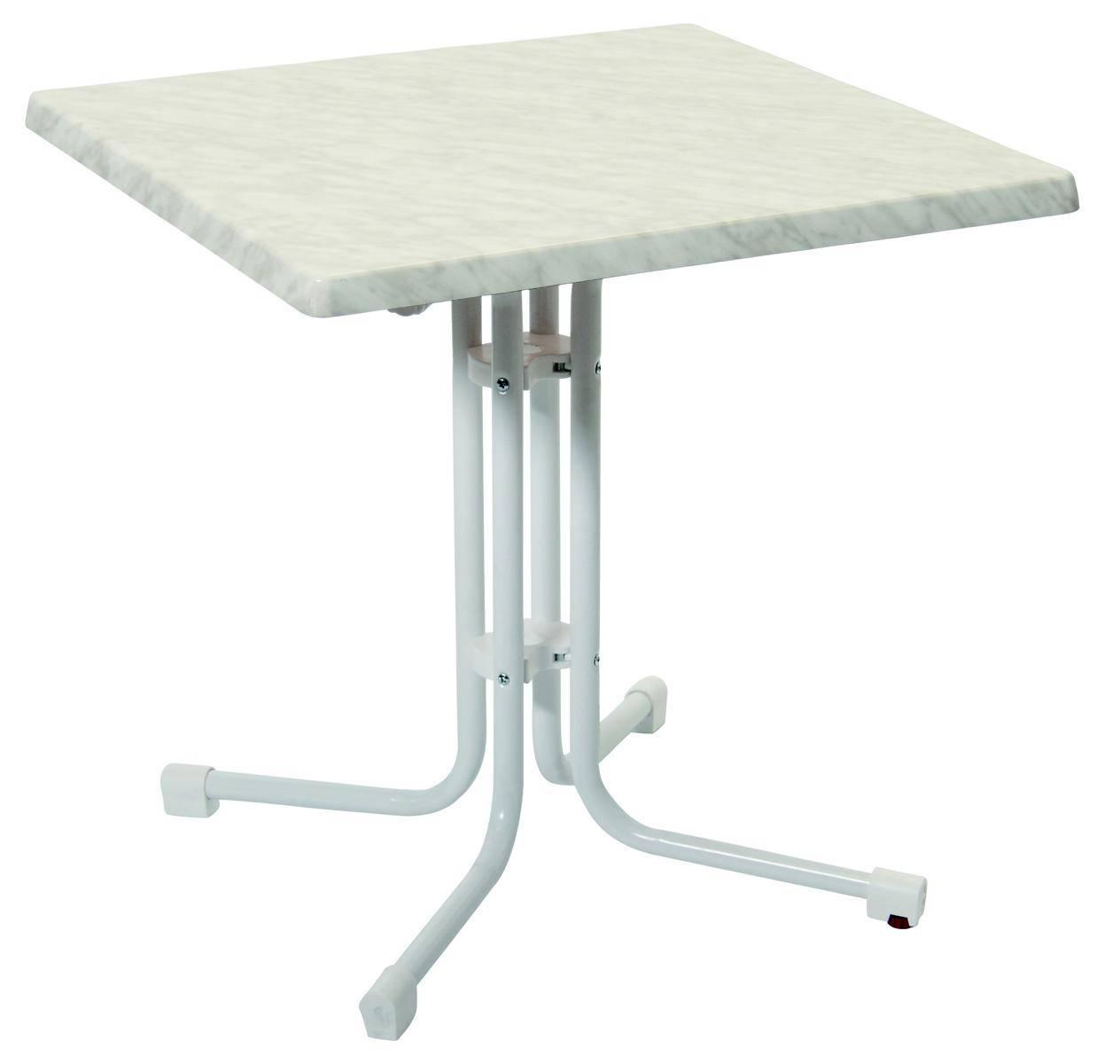 70x70cm Bistrotisch 56611 acamp piazza weisses Gestell mit weiss marmorierter Tischplatte Topalit