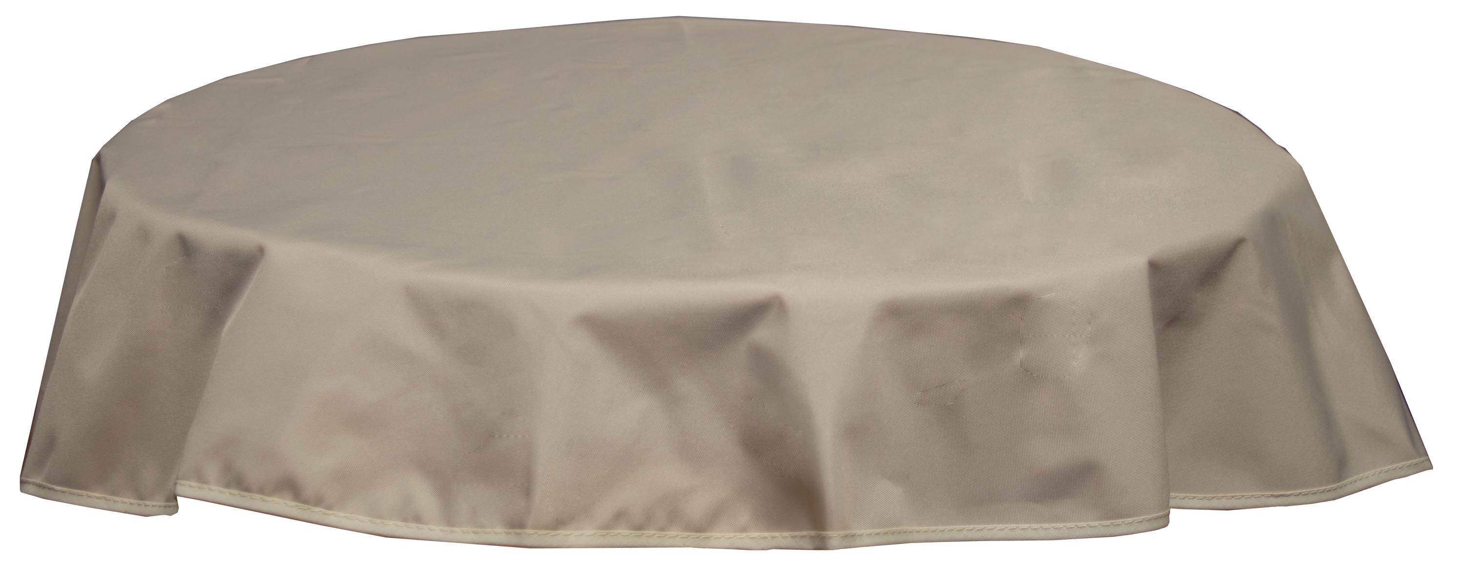 Runde Tischdecke 160cm wasserabweisend 100% Polyester in beige