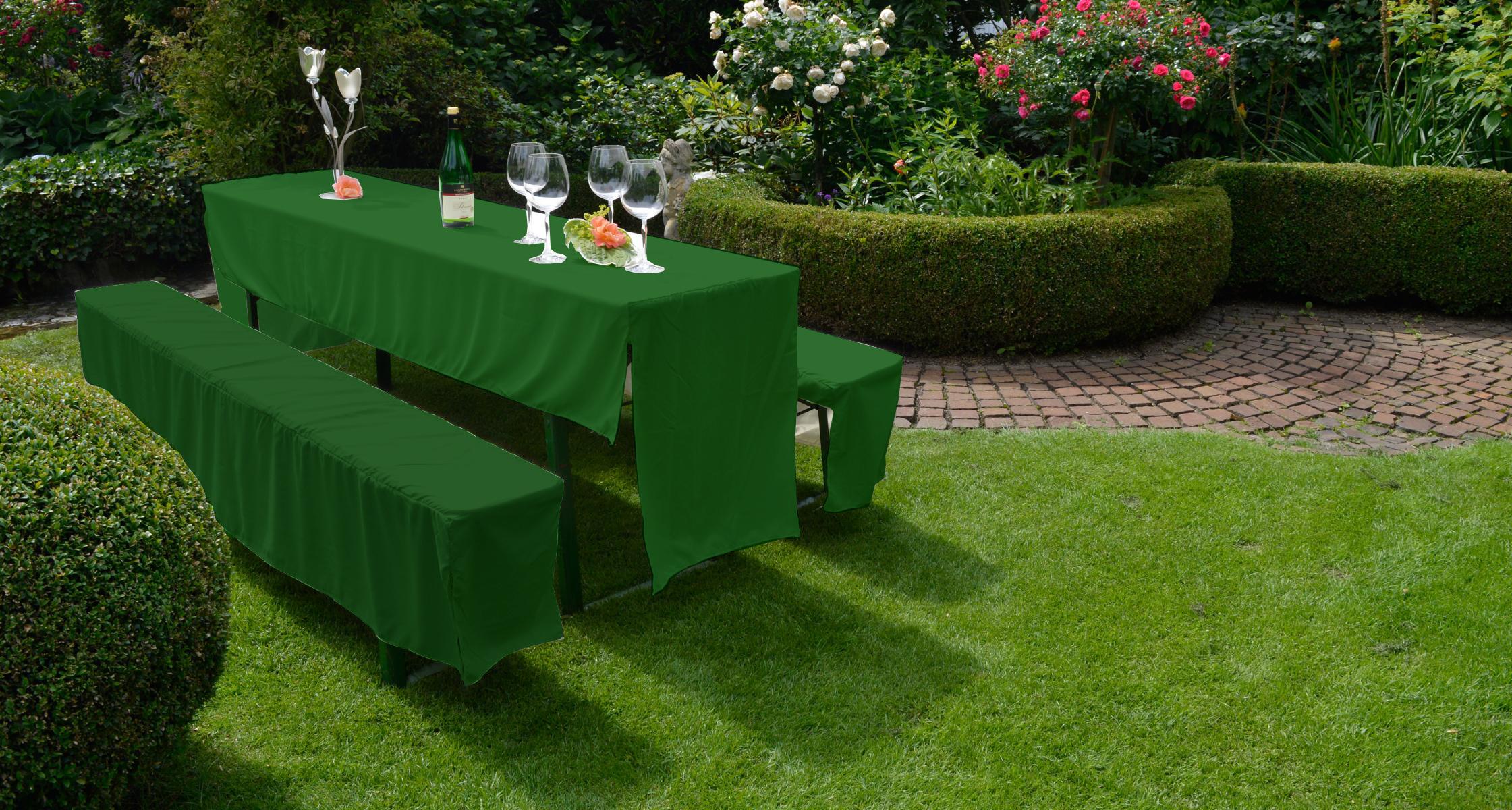 Festzelt Hussen Set für Bierbank Garnituren in dunkelgrün 100% Polyester