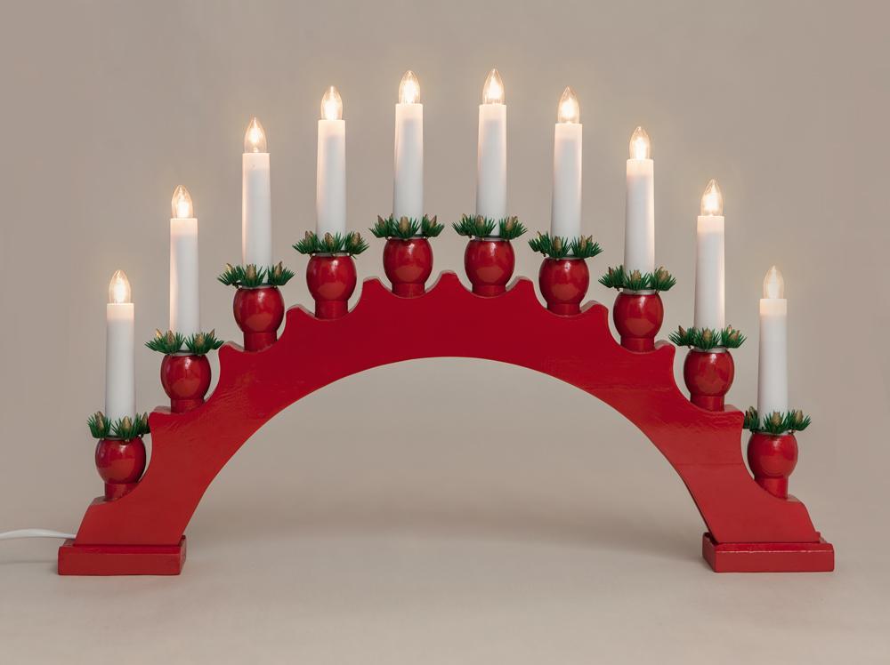 10er Lichterbogen Leuchter rot Weihnachtsbeleuchtung Dekoration
