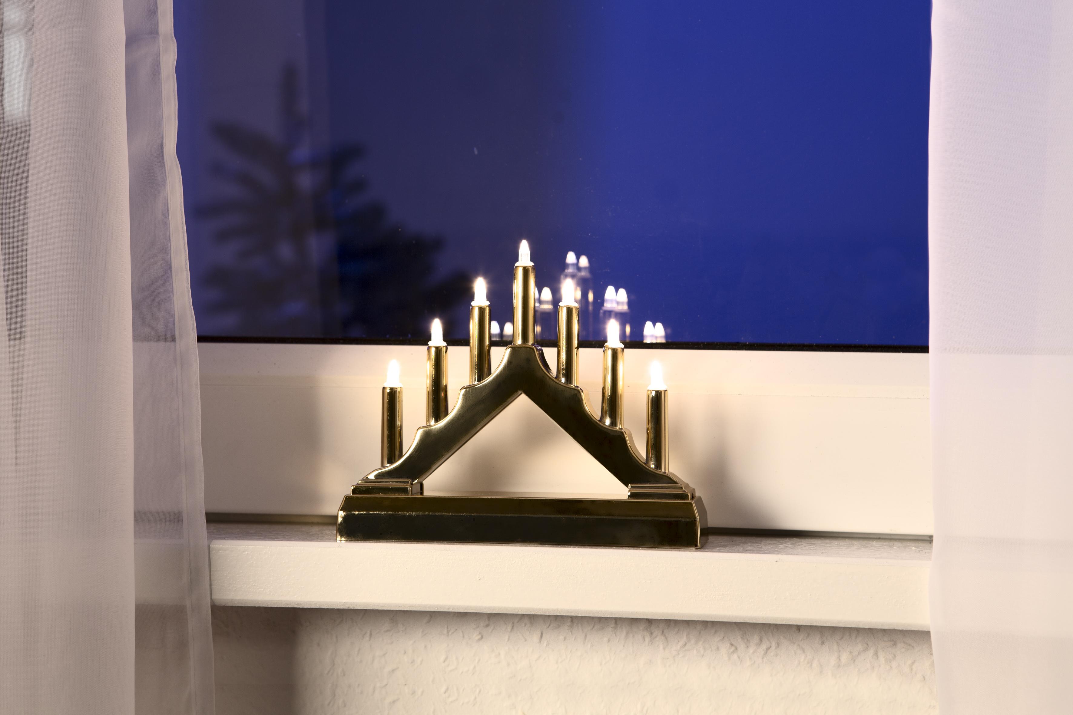 7er Lichterbogen Leuchter gold Weihnachtsbeleuchtung Dekoration