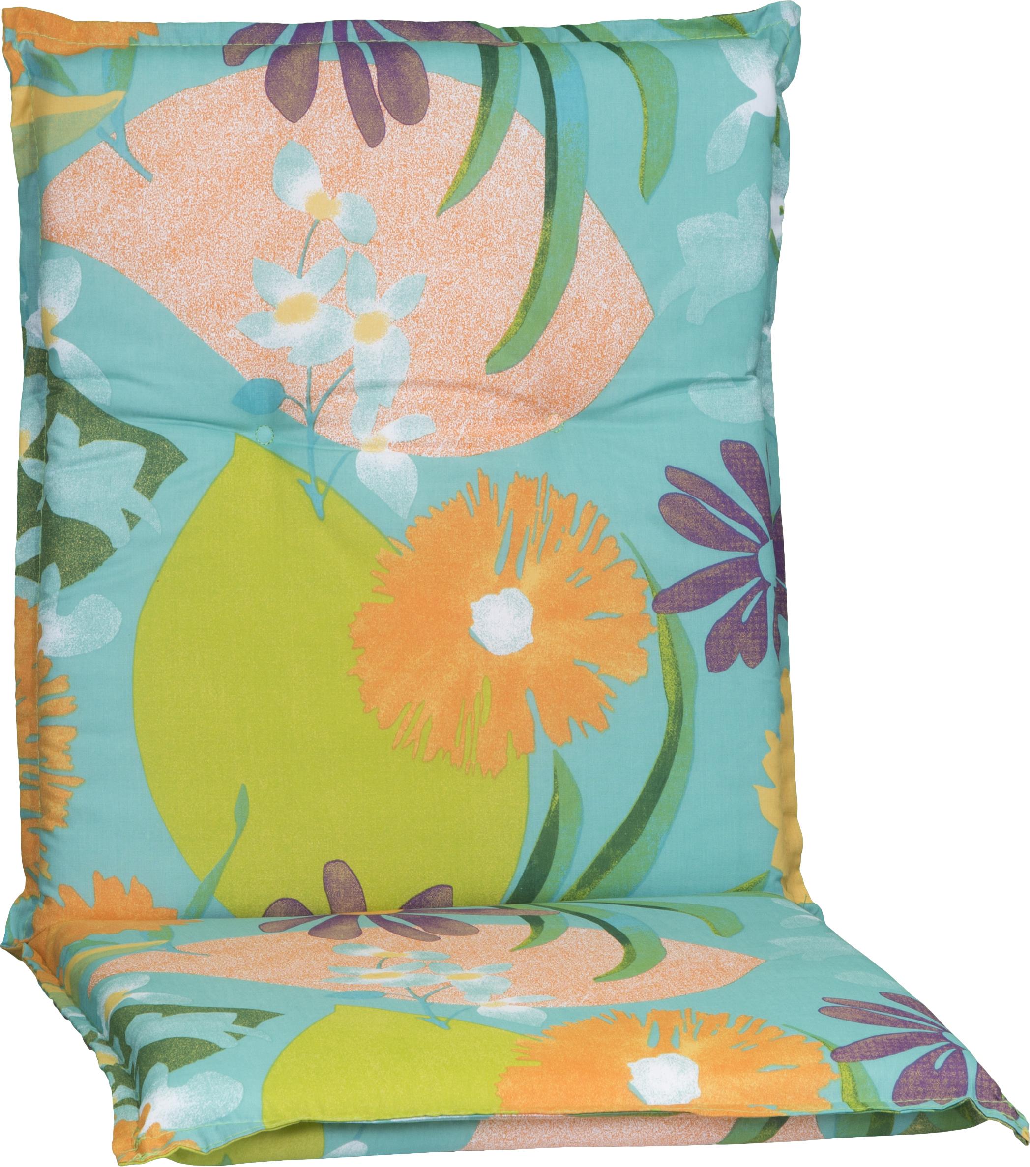Aquarell Blumenmotiv Niederlehner Polster Design M701 orange, türkis, rosé und grün